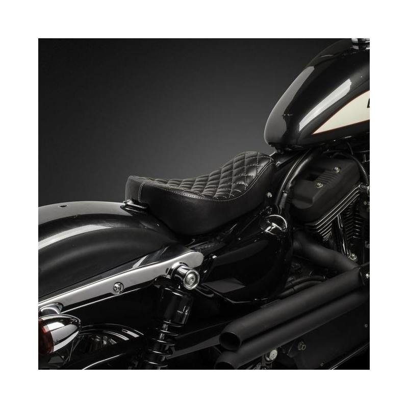 Selle Biltwell Sporty-8 Harley Davidson Sportster 10-18 noire coutures losanges - 5