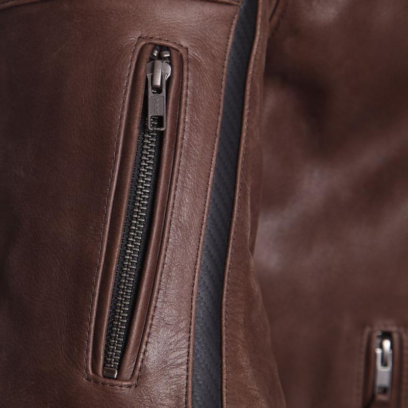 Blouson cuir Segura HORNER marron/noir - 3