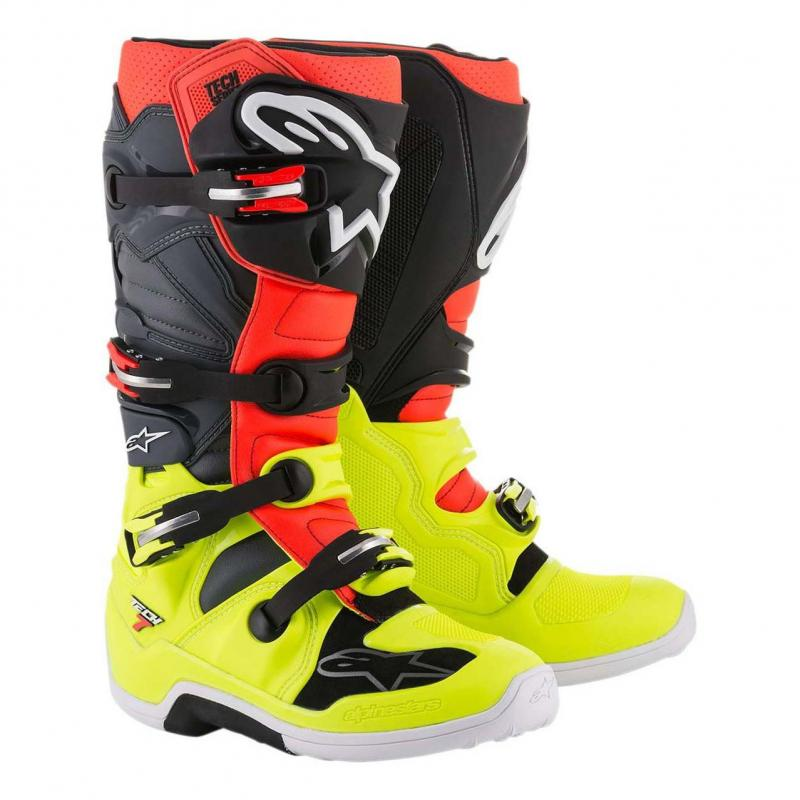 Bottes cross Alpinestars Tech 7 jaune/rouge/gris/noir
