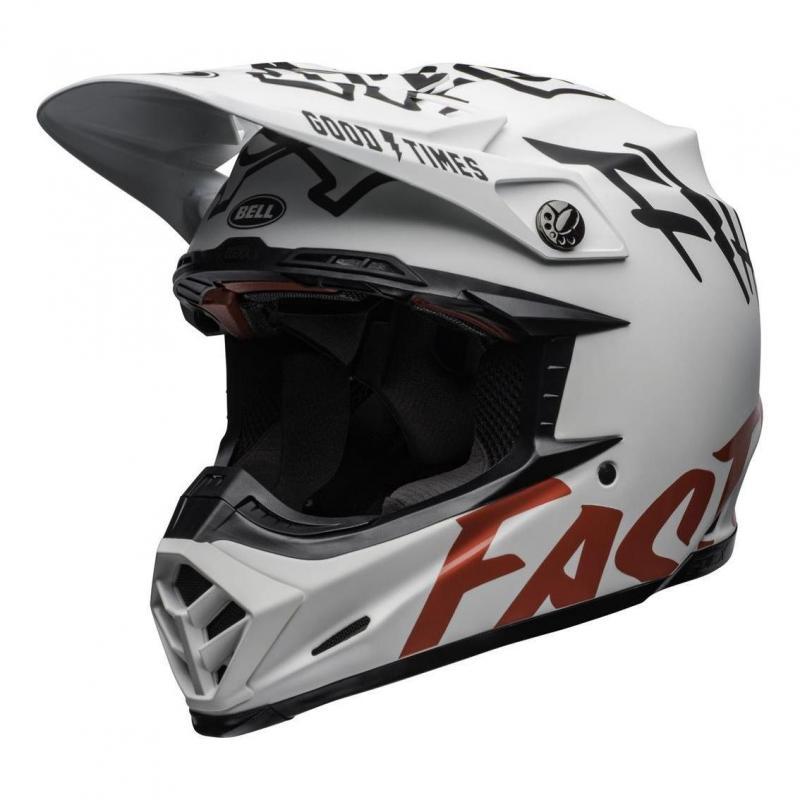 Casque cross Bell Moto 9 Flex Fasthouse WRWF mat/brillant blanc/rouge