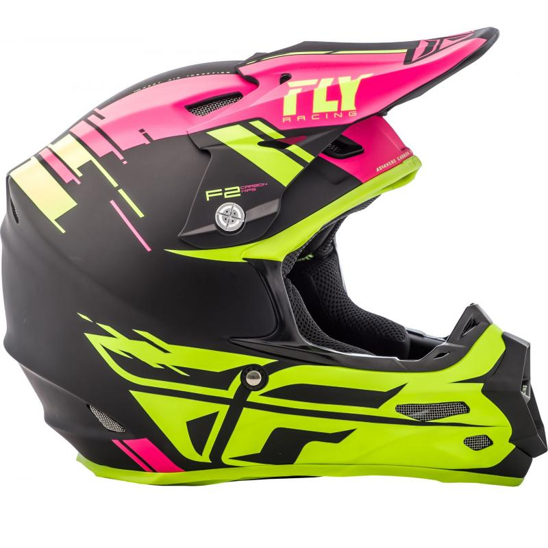Casque cross Fly Racing F2 Carbon Forge rose/jaune/noir - 1