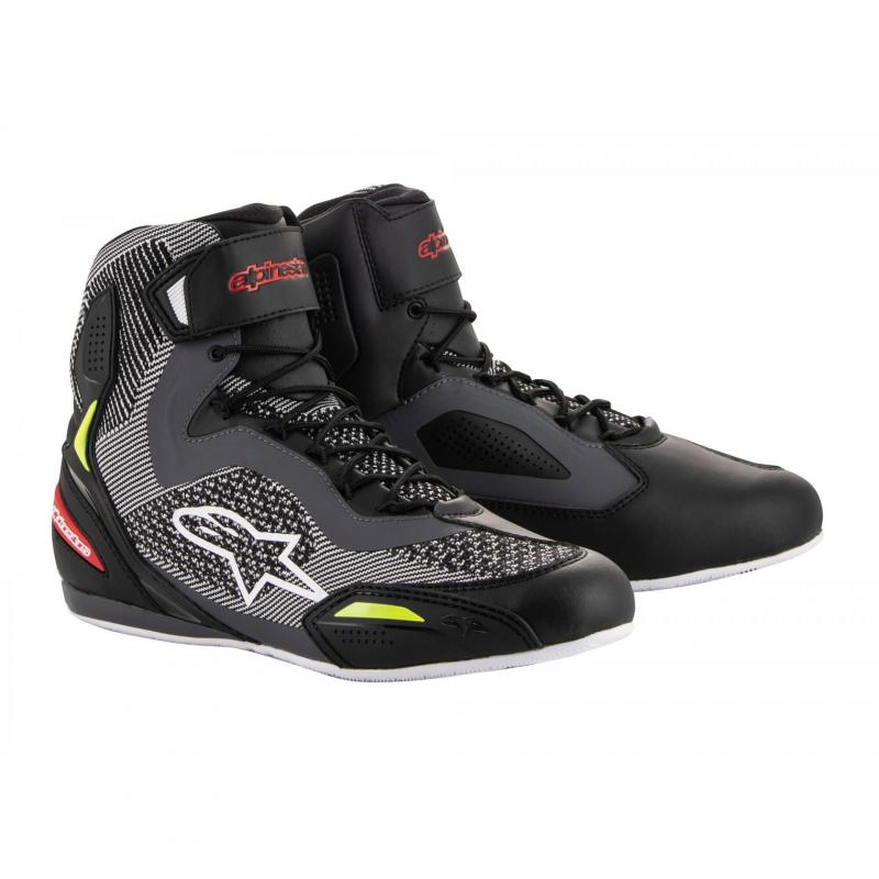 Chaussures moto Alpinestars Faster 3 Rideknit noir/gris/rouge/jaune fluo