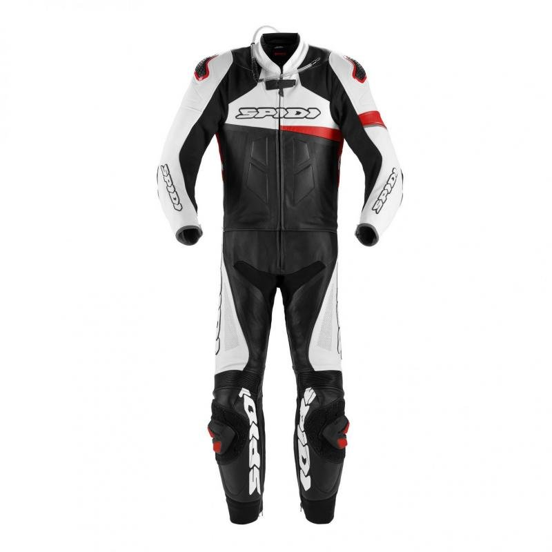 Combinaison 2 pièces cuir Spidi Race Warrior Touring Perforated noir/blanc/rouge