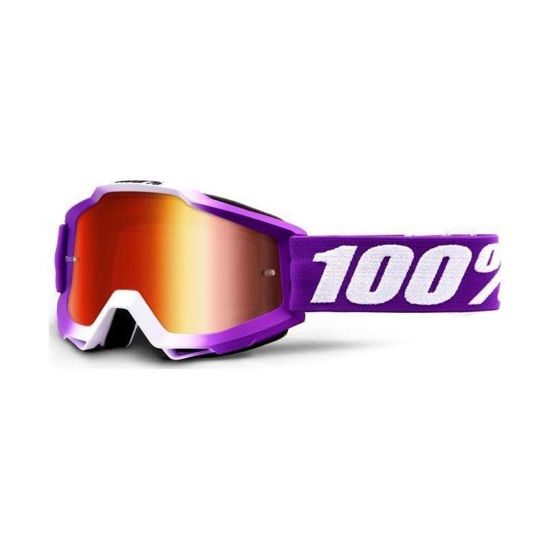 Masque cross 100% Accuri Framboise violet/blanc - écran miroir rouge