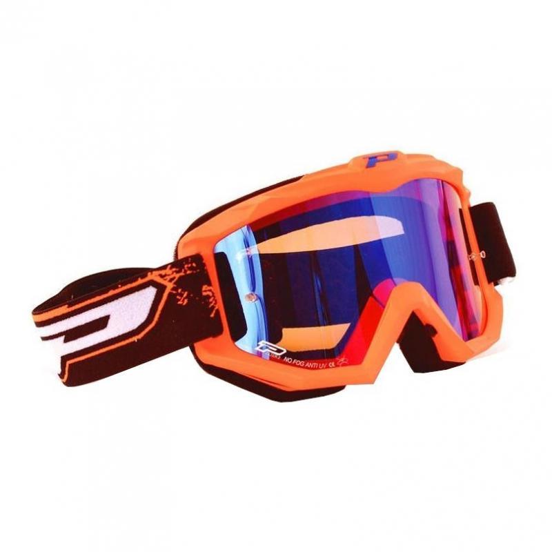 Masque cross Progrip 3204 orange fluo et écran miroir bleu