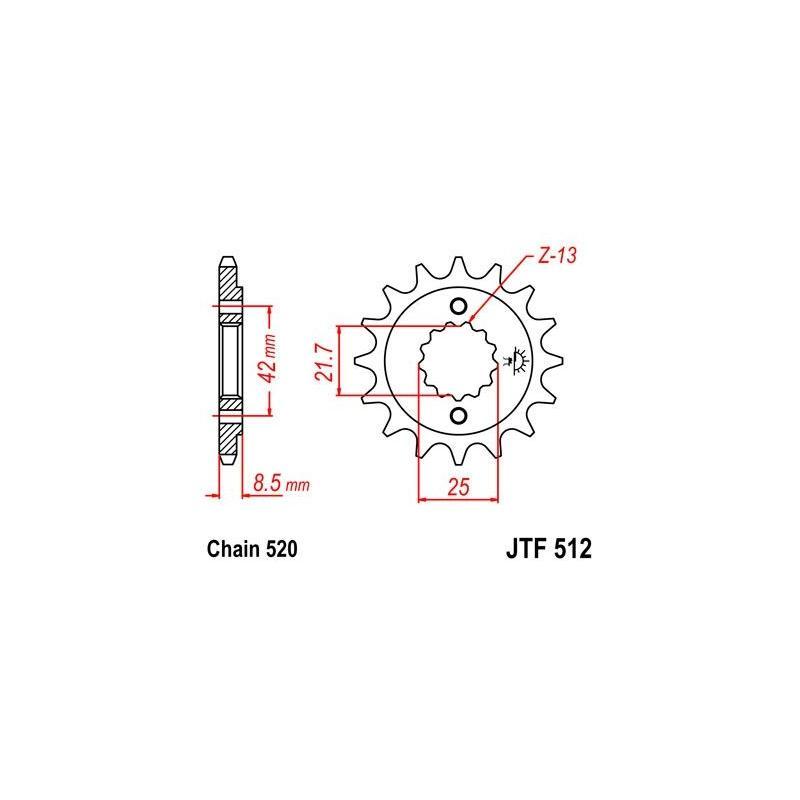 Pignon JT Sprockets Acier pas 520 16 dents - Pour Kawasaki ZR 550 Zephyr 91-98