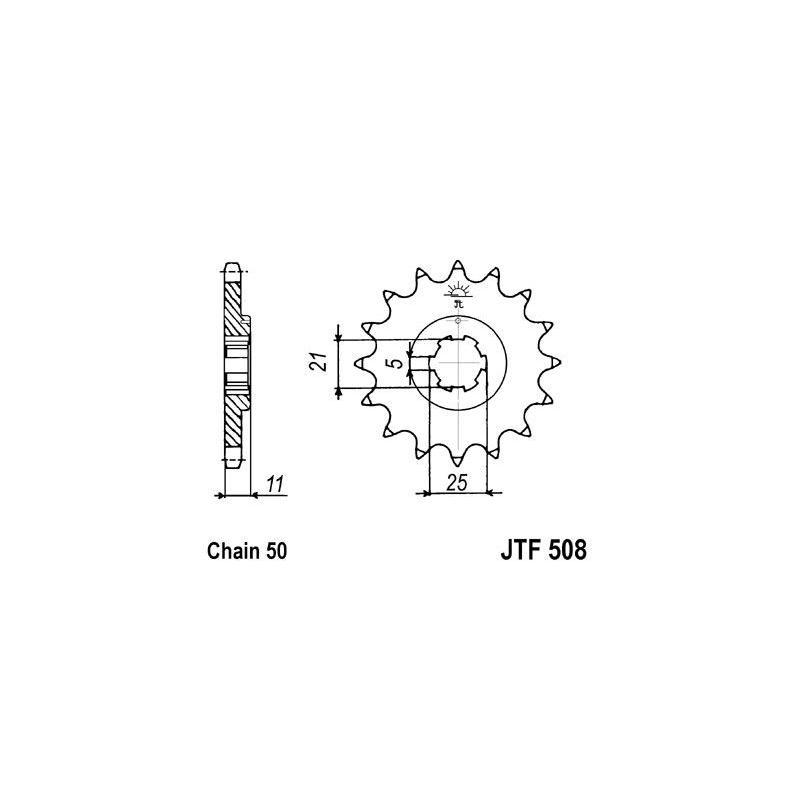 Pignon JT Sprockets Acier pas 530 16 dents - Pour Kawasaki KH 500 72-75