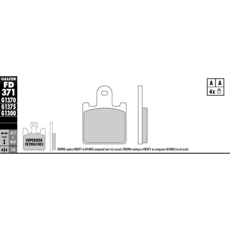 Plaquettes de frein Galfer G1370 sinter FD371 - 1
