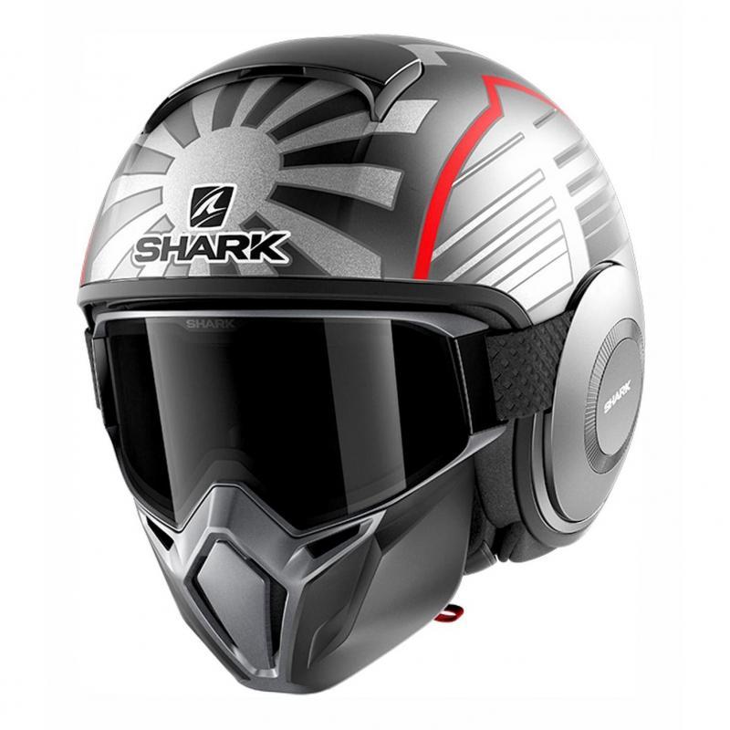 Casque jet Shark Street-Drak Réplica Zarco Malaysian GP Mat anthracite/argent/rouge