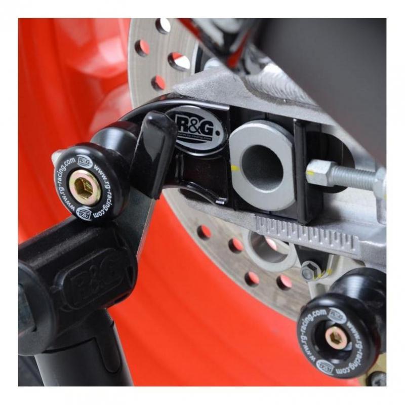 Diabolos de bras oscillant R&G Racing noir sur platine Aprilia RSV4 RR 15-18