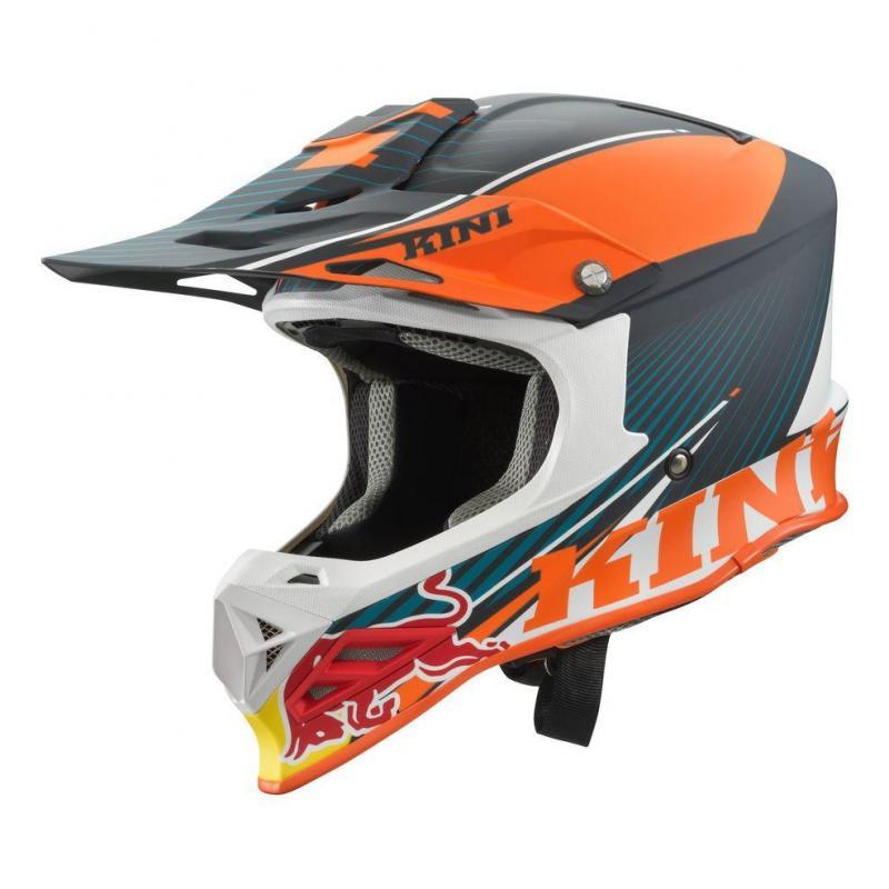 Casque cross Kini Red Bull Compétition orange/blanc/gris