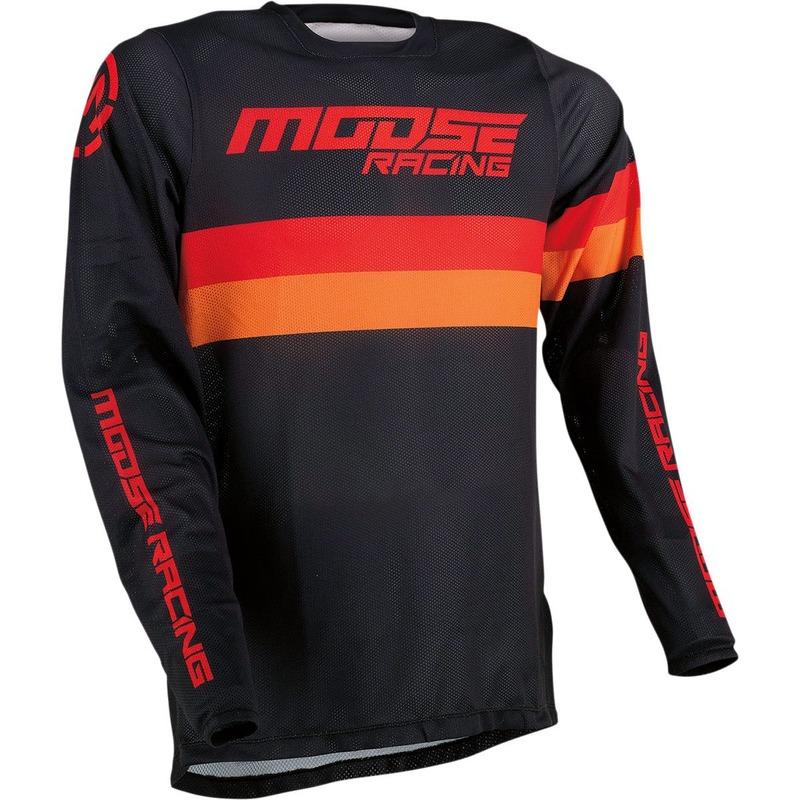 Maillot cross Moose Racing Sahara noir/orange/rouge