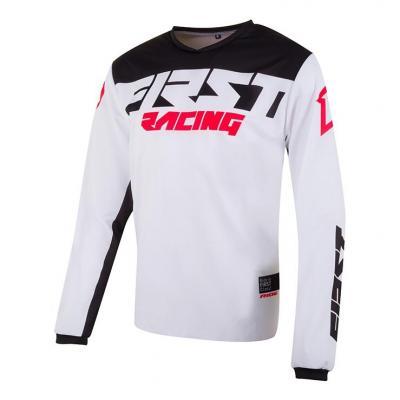 Maillot cross First Racing Data Evo blanc/noir/rouge