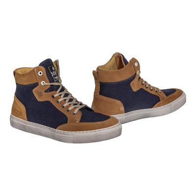 Baskets moto cuir/textile Helstons Kobe Armalith gold/bleu
