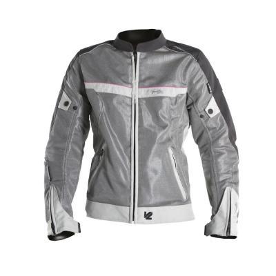 Blouson textile femme V'Quattro VE-21 blanc/gris/rose