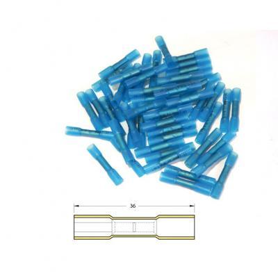 Bout à bout à sertir Bihr thermo-retractable Ø 1,5/2,5mm² bleu transparent (50 pièces)