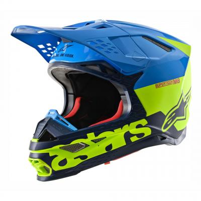 Casque cross Alpinestars Supertech S-M8 Radium mat/brillant aqua/jaune fluo/navy