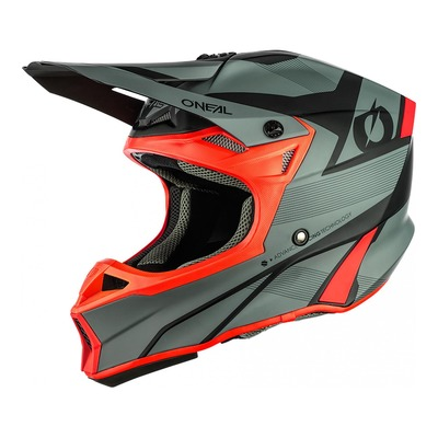 Casque cross O'Neal 10SRS Hyperlite Compact gris/rouge