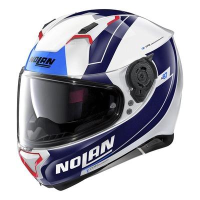 Casque intégral Nolan N87 Skilled N-Com Métal blanc/bleu