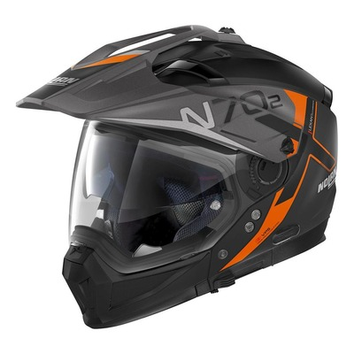Casque trail transformable Nolan N70-2 X Bungee N-Com Mat noir/orange