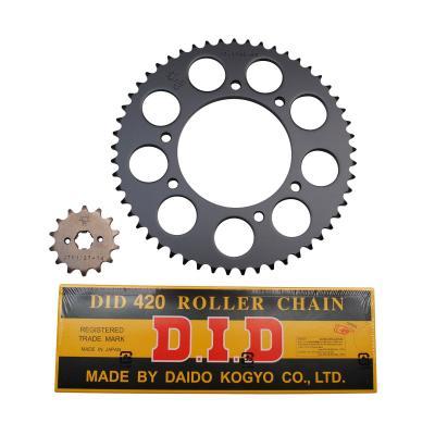Kit chaîne DID pas 420 14x53 démultiplication d'origine alésage 102 mm adaptable senda drd r - drd s