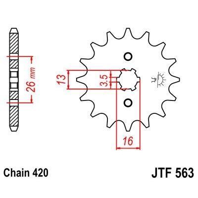 Pignon JT Sprockets Acier pas 420 13 dents - Pour Yamaha DT 80 MX 82-85