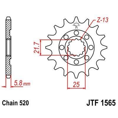 Pignon JT Sprockets Acier pas 520 14 dents - Pour Kawasaki KX-F 450 06-16 Anti-boue