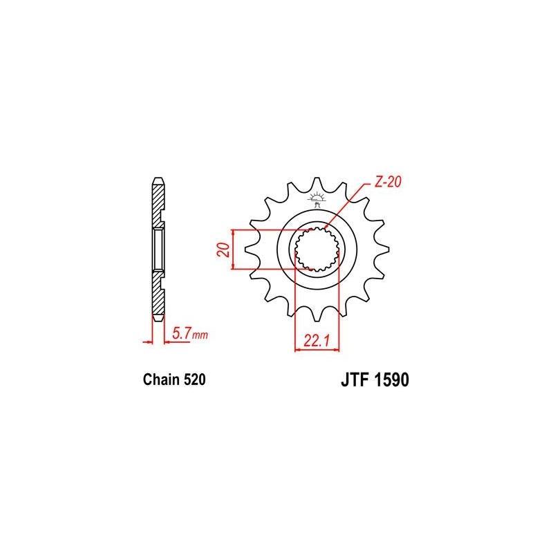 Pignon JT Sprockets Acier pas 520 14 dents - Pour Yamaha WR-F 250 10-14