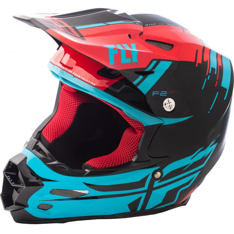 Casque cross Fly Racing F2 Carbon Forge rouge/bleu/noir
