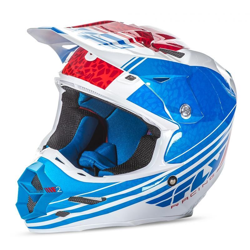 Casque cross Fly Racing F2 Carbon Animal bleu/blanc/rouge