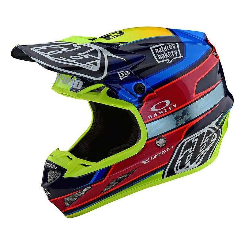 Casque cross Troy Lee Designs SE4 Carbon Speed Team bleu/jaune