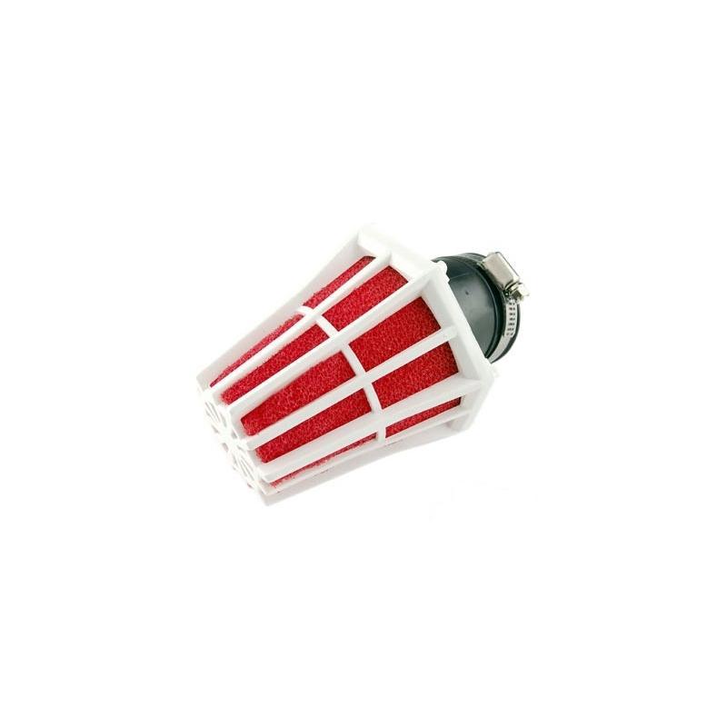 Filtre à Air Tun'R D28-35 Hexagonal Coude 30° Corps Blanc Mousse Rouge