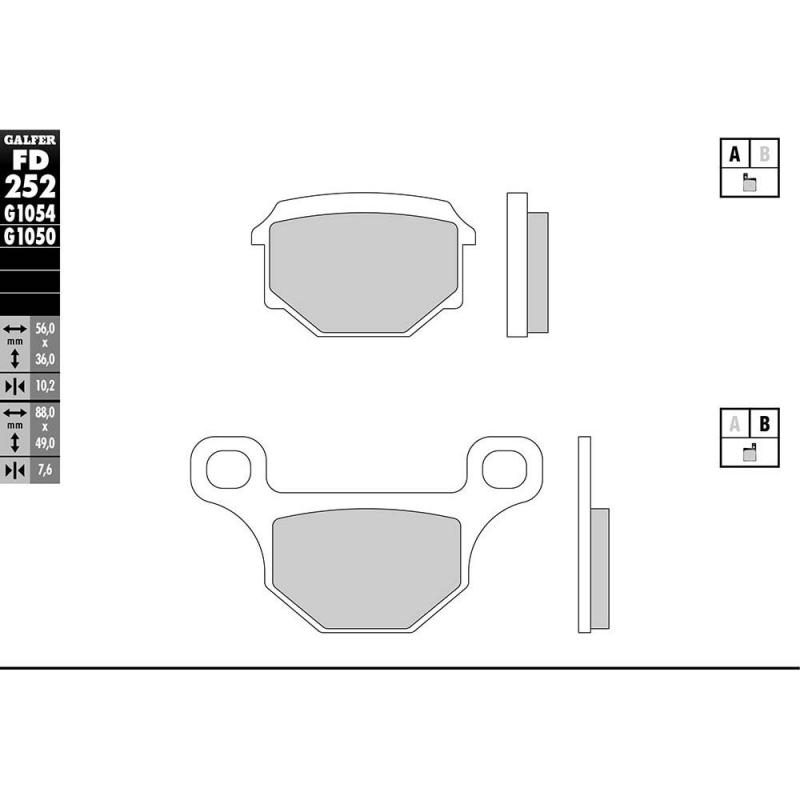 Plaquettes de frein Galfer G1054 semi-métal FD252 - 1