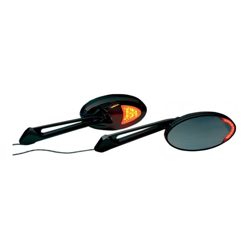 Rétroviseur LED intégrées Rivco custom Harley Davidson (paire) noir brillant