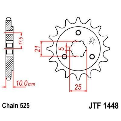 Pignon JT Sprockets Acier pas 525 14 dents - Pour Suzuki DR 650 96-00