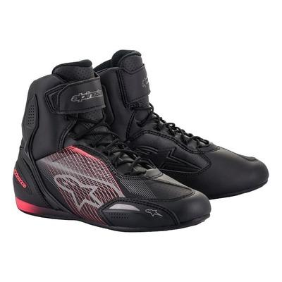 Chaussures moto femme Alpinestars Stella Faster-3 noir/gun métal/Diva pink