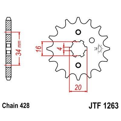 Pignon JT Sprockets Acier pas 428 14 dents - Pour Yamaha SR 125 95-02