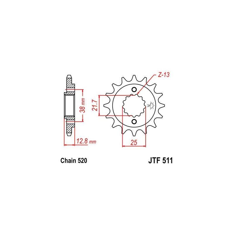 Pignon JT Sprockets Acier pas 520 14 dents - Pour Kawasaki KLX 650 R 93-96