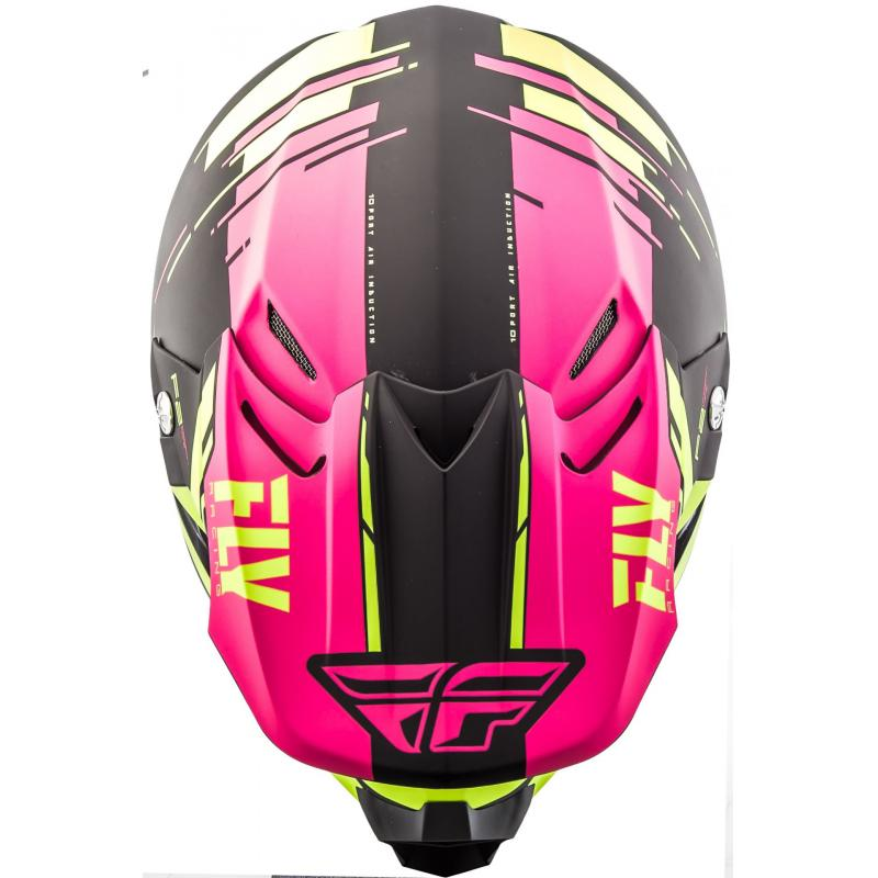 Casque cross Fly Racing F2 Carbon Forge rose/jaune/noir - 3