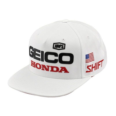 Casquette 100%/Geico Honda noir/blanc
