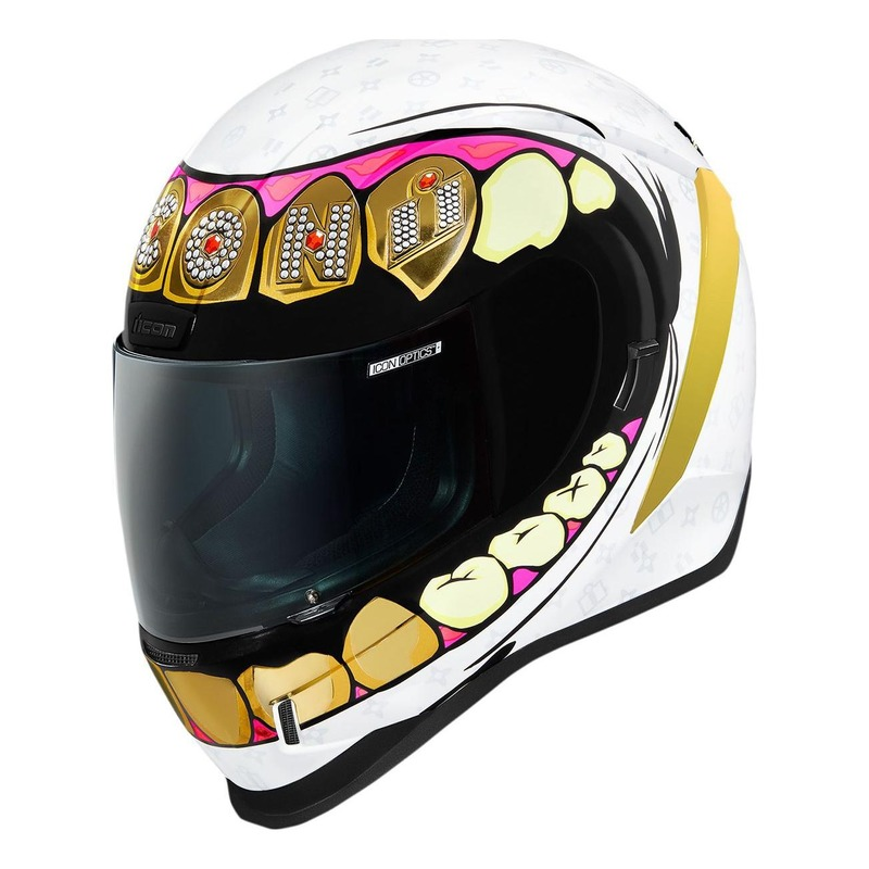 Casque intégral Icon Airform Grillz blanc/or/rose