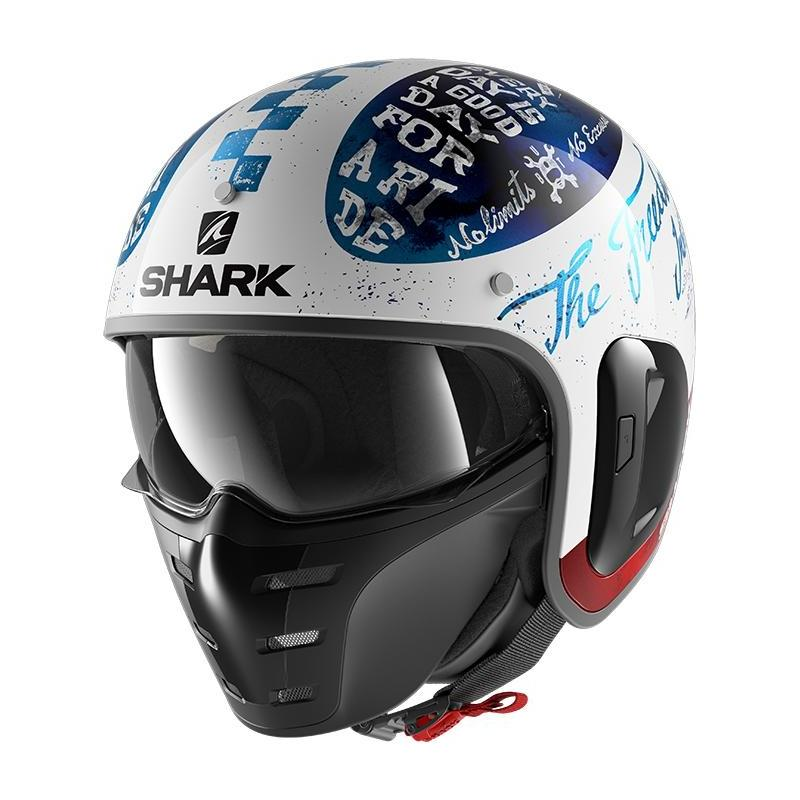 Casque jet Shark S-Drak 2 Tripp In blanc/bleu/rouge