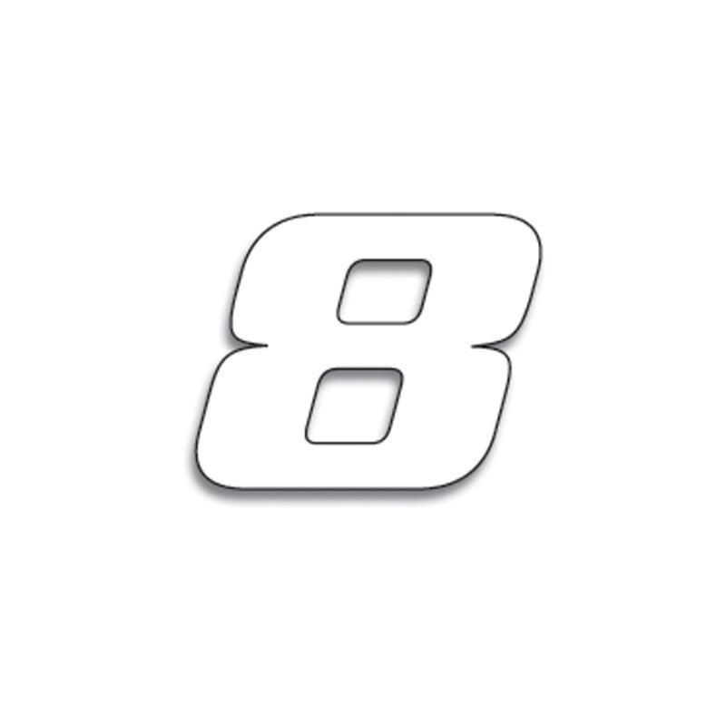 3 numéros de course Blackbird N° 8 blancs 20 x 25 cm