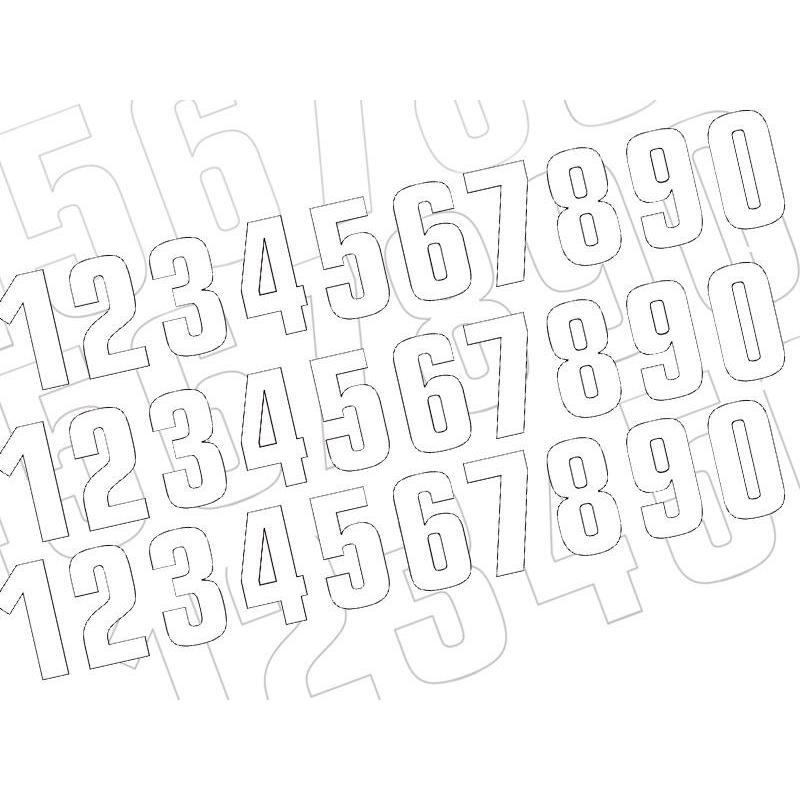 3 numéros de course Blackbird N° 9 blancs 16 x 7,5 cm