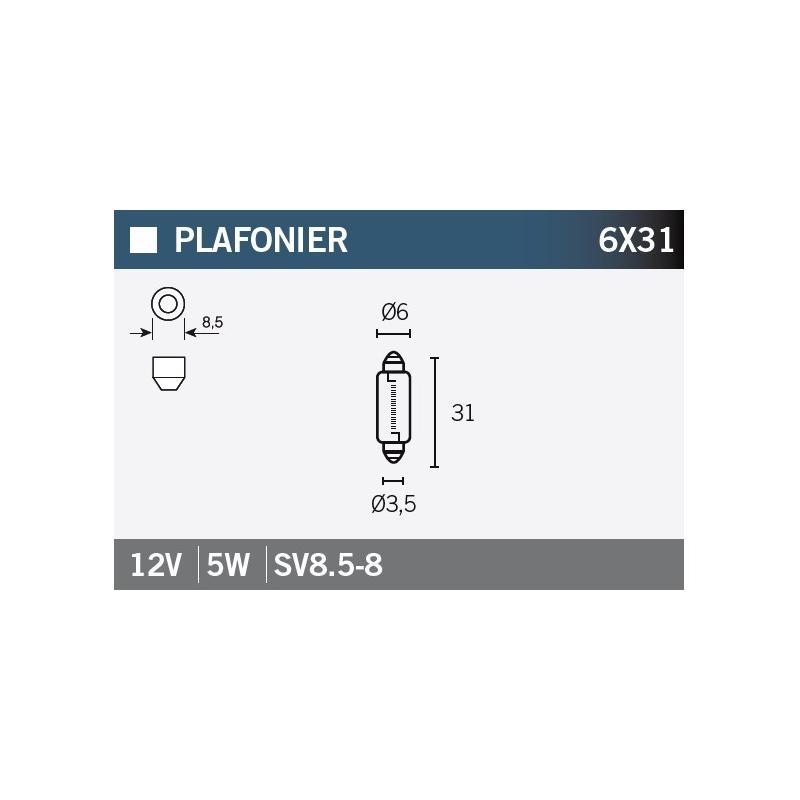 Ampoule Vicma 6x31 SV8,5-8 12V 5W