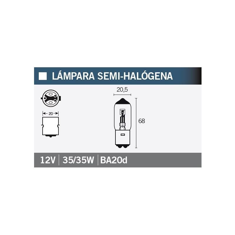 Ampoule Vicma BA20S Semi-halogène 12V 35/35W