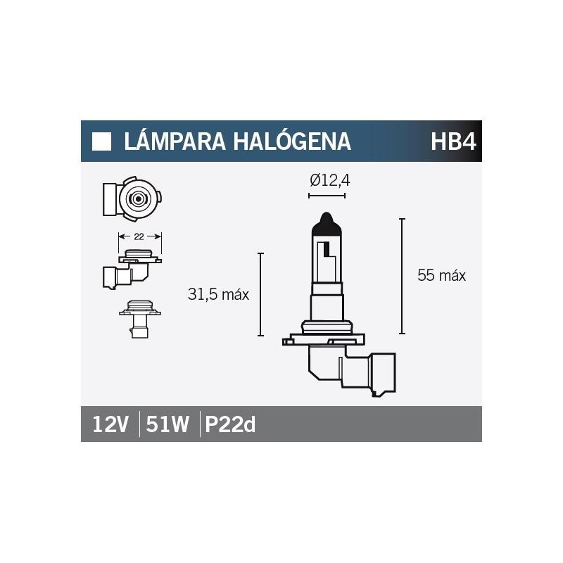 Ampoule Vicma HB4 P22D Halogène12V 51W