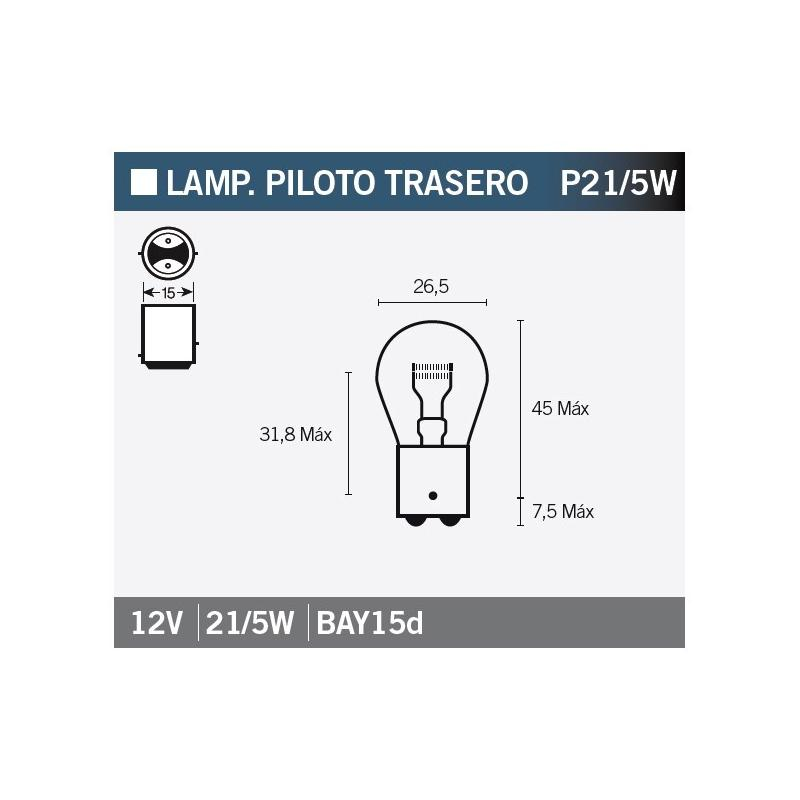 Ampoule Vicma P21/5W Bay15d feux arrière 12V 21/5W