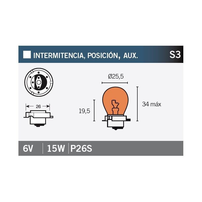 Ampoule Vicma S3 P26S 6V 15W Orange