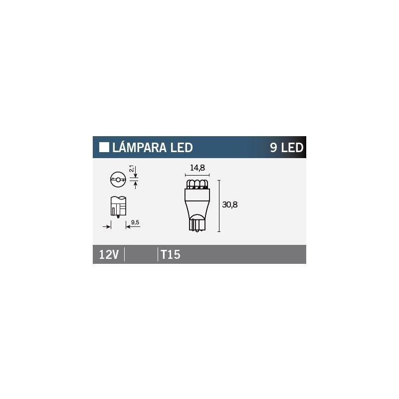 Ampoule Vicma T15 9 LEDs 12V Orange